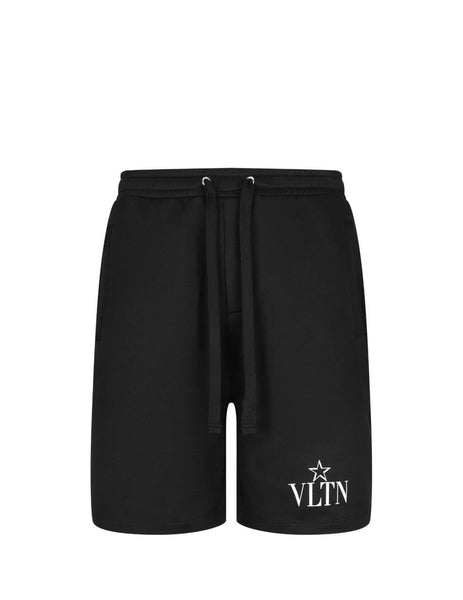 Valentino Men's Giulio Fashion Black VLTN Star Shorts TV3MD02C63B0NI
