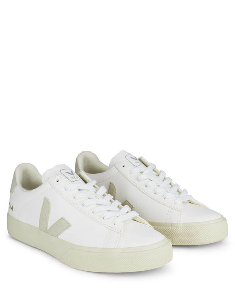 Women's White and Grey Veja Campo Sneakers CP051945