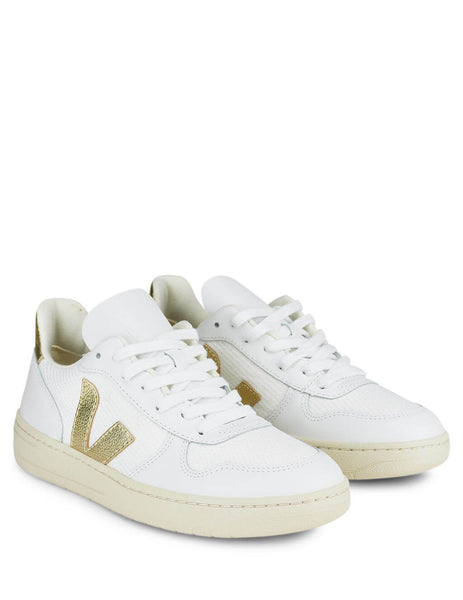 Women's White and Gold Veja V-10 B-Mesh Sneakers VX011781