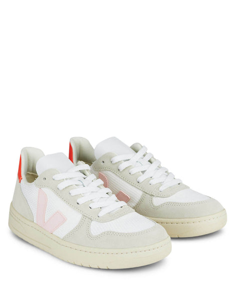 Women's White, Pink and Orange Veja V-10 B-Mesh Sneakers VX012142