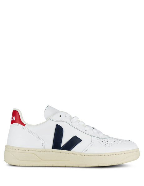 Women's White, Navy and Red Veja V-10 Sneakers VX021267