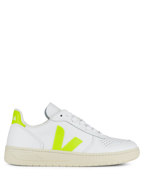 Women's White and Neon Yellow Veja V-10 Sneakers VX022086