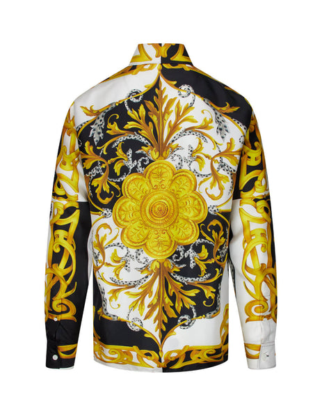 Men's Versace Barocco Acanthus Print Silk Shirt in White, Black and Gold A87419-A235781_A7027