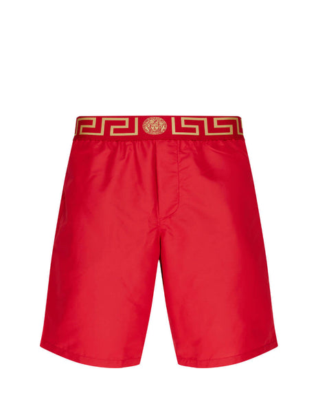 mens versace greca border swim shorts in red and gold ABU01023-A232415_A9X2