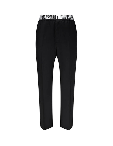 Men's Black Versace L'Homme Motif Wool Trousers A86912-A230180_A1008