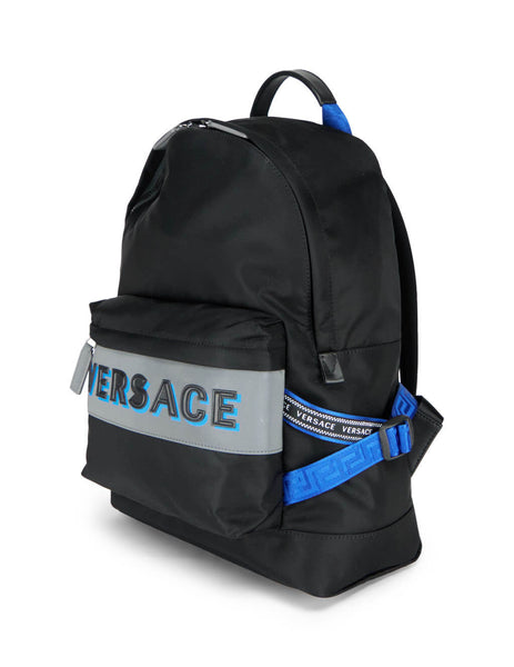 Men's Versace Nylon and Leather Backpack in Black, Blue and Grey DFZ8069-DNY2R_K046E