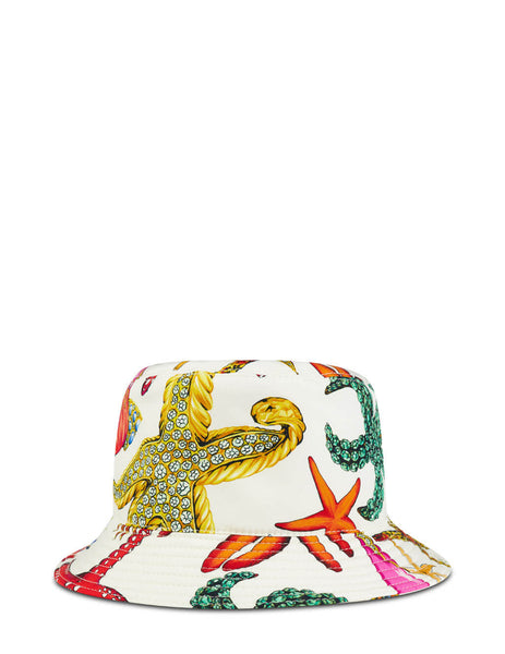Men's Versace Starfish Print Bucket Hat in White/Multicolour - ICAP013-1F01146-5W000