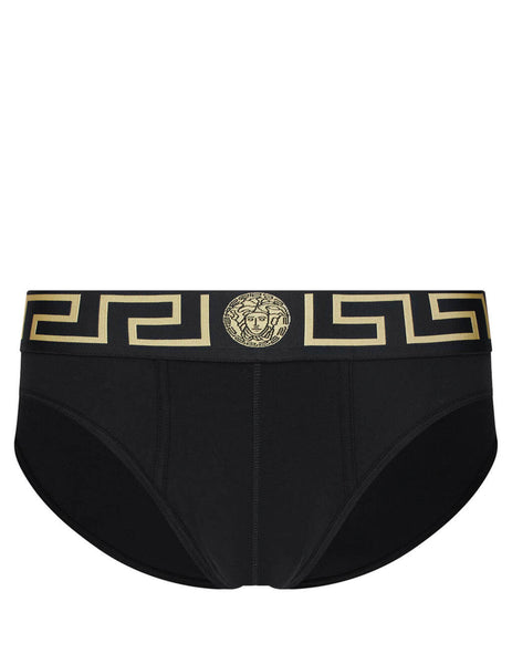 Men's Black and Gold Versace Two Pack of Greca Border Briefs AU10180-A232741_A80G