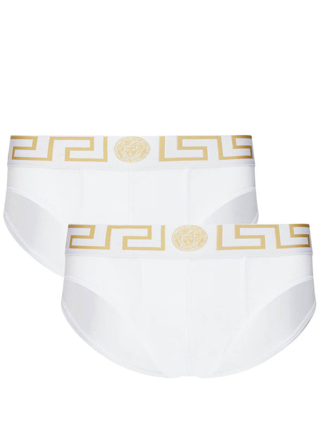 Men's White and Gold Versace Two Pack of Greca Border Briefs AU10180-A232741_A81H