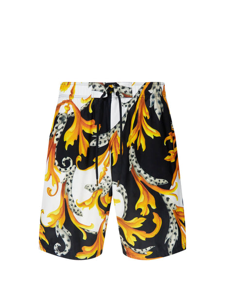 Men's Versace Ancanthus Print Swim Shortsin White/Black/Gold. ABU11013-A235919_A7027