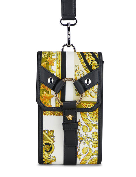 Men's Versace Barocco Mosaic Print Bondage Phone Pouch in Black/Gold/White - DP88431-DNYST6_5B02L