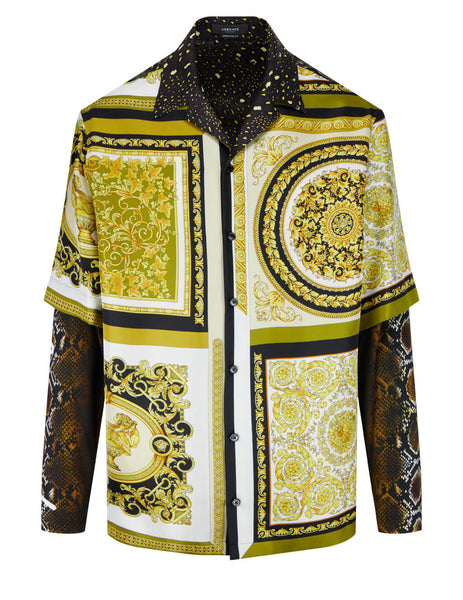 Men's Versace Barocco Mosaic Print Shirt in Gold/Brown/White - A88738-1F00725_5N030