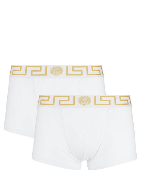 Versace Men's White and Greek Gold Bi-Pack Boxer Trunks AU10181-A232741_A81H