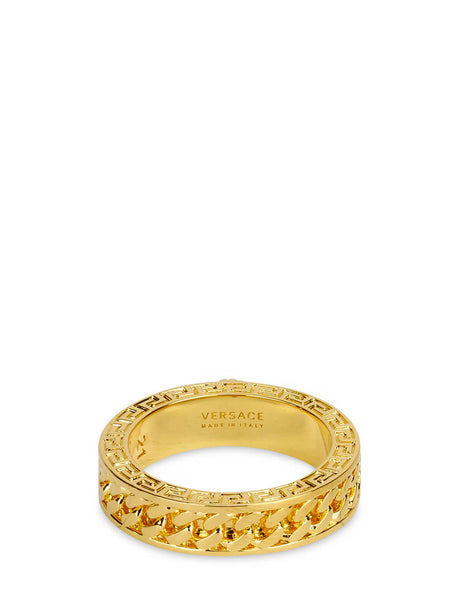 Men's Versace Chained Medusa Ring in Warm Gold - DG57563-DJMT_D00H