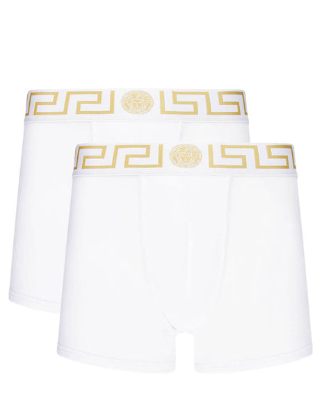Versace Men's Giulio Fashion White Greca Border Boxers Bi-Pack AU10192AC00059A81H