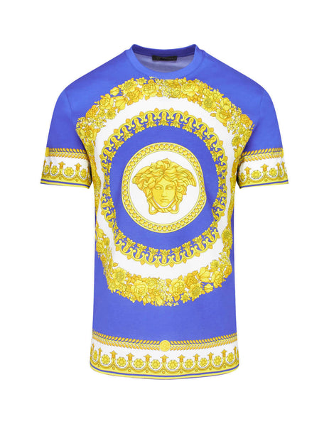 Versace Men's Giulio Fashion Blue Greca Pattern T-Shirt A77276A230863A741