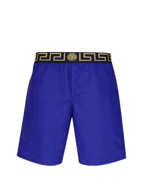 Versace Men's Giulio Fashion Bluette Greca Swim Shorts ABU01023-A232415_A1343