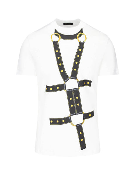 Versace Men's Giulio Fashion White Harness Print T-Shirt A84155A228806A001