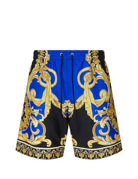 Men's Versace Le Pop Classique Swim Trunks in Blue/Black/Gold. ABU08029-A233002_A7343