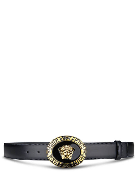 Men's Versace Medusa Round Buckle Belt in Black. DCU4949-DVTP1_D41OH