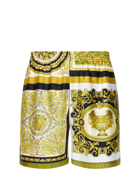 Men's Versace Mixed Print Silk Shorts in Gold/Brown/White - A84097-1F00719_5N030