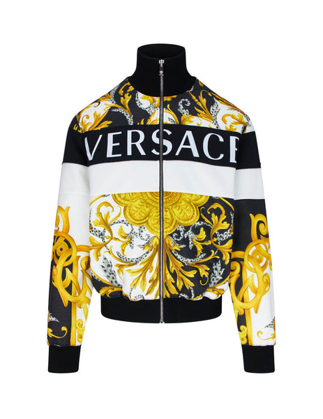 mens versace mixed print sweatshirt in white black and gold A87488-A236132_A7027