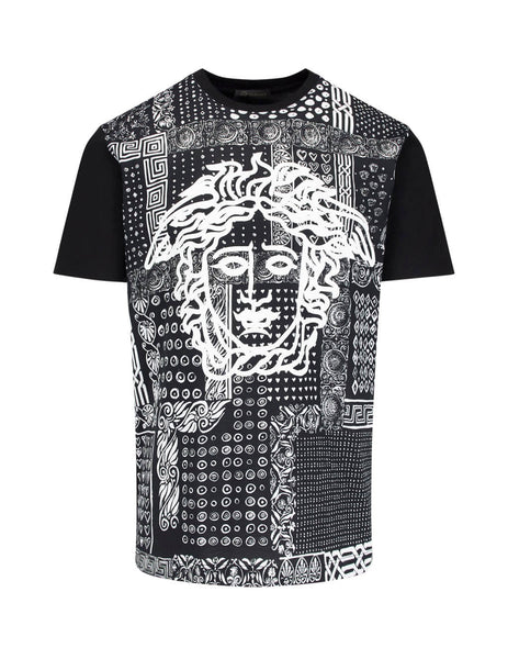 Versace Men's Giulio Fashion Black Paisley Medusa T-Shirt A83557A230874A708