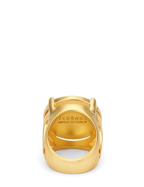 Versace Men's Giulio Fashion Gold Rapper Medusa Signet Ring DG54712DMT1D00H