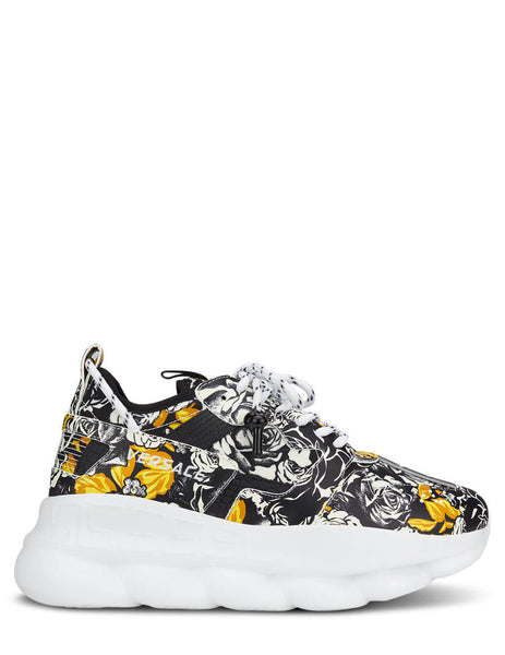 Men's Rose Print Versace Chain Reaction Sneakers in White/Black/Gold. DSU7462-D13SG_DBN9
