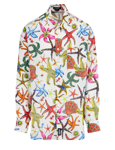 Men's Versace Trésor de la Mer Print Linen Shirt in White/Multicolour - A88842-1F01132_5W000