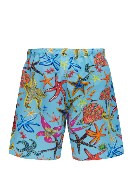Men's Versace Tresor de la Mer Print Long Swim Shorts in Light Blue/Multicolour - ABU90005-1F01225_5U010