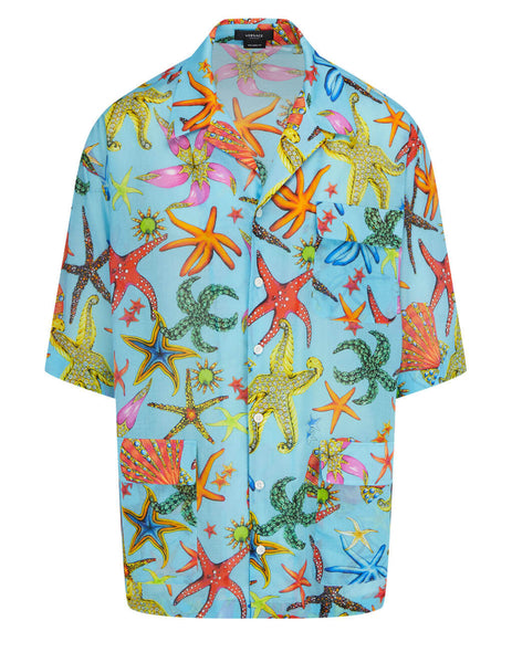 Men's Versace Trésor de la Mer Print Pocket Shirt in Light Blue/Multicolour - A89042-1F01139_5U010
