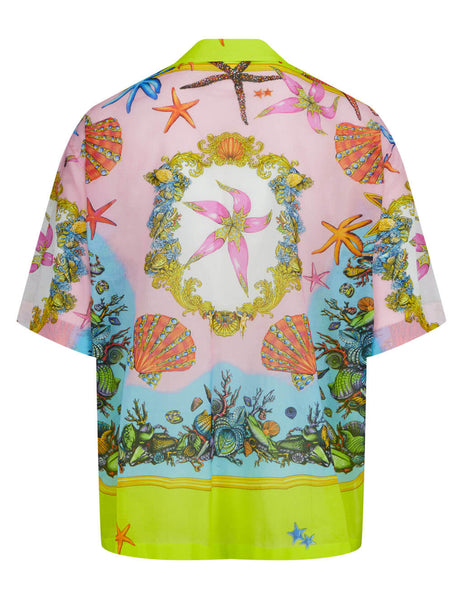 Men's Versace Trésor de la Mer Print Pocket Shirt in Yellow/Multicolour - A89042-1F00946_5Y010
