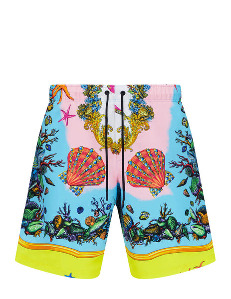 Men's Versace Trésor de la Mer Print Swim Shorts in Multicolour - ABU90004-1F01223_5Y010