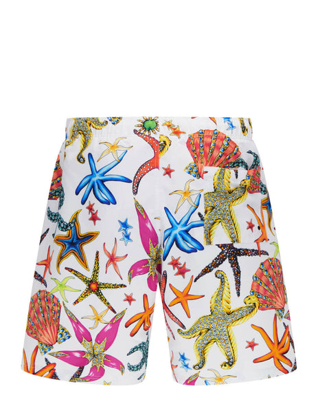 Men's Versace Tresor de la Mer Print Swim Shorts in White/Multicolour - ABU90004-1F01225_5W000