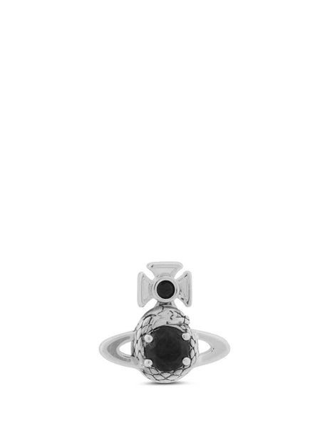 mens vivienne westwood avalon bas relief single stud in rhodium and black 62010192W223W223