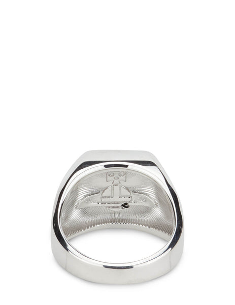 Men's Vivienne Westwood Carlo Ring in Rhodium/Black - 64040071W169W169