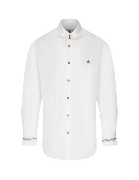 Vivienne Westwood Men's Giulio Fashion White Floral Trimmed Shirt S25DL0488S478990100