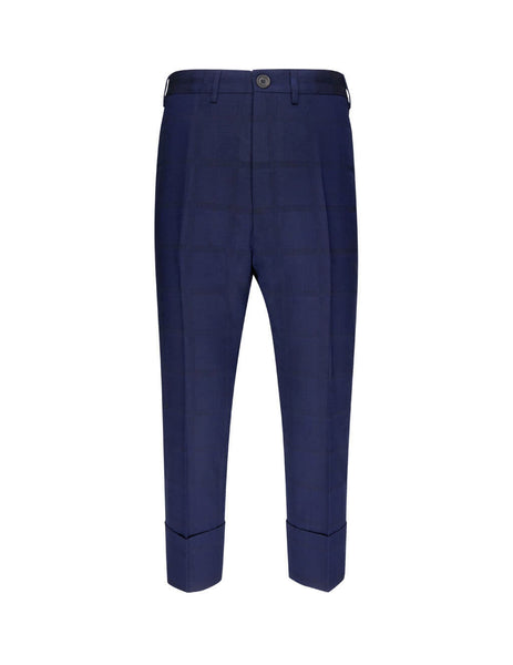 Vivienne Westwood Men's Giulio Fashion Navy Jacquard Trousers S25KA0586S52095001F