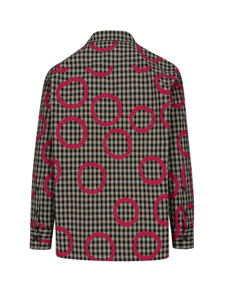 Vivienne Westwood Men's Minicheck Overshirt with  Pinocchio Print in Black and White S25DL0481S52615001S
