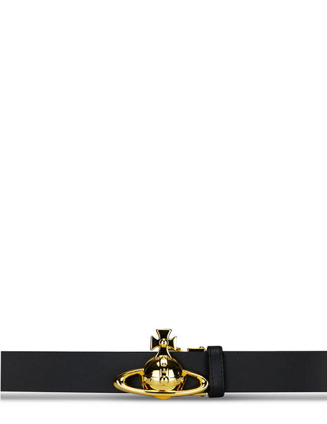 Men's Vivienne Westwood Orb Buckle Belt in Black/Gold - 8201000641191N406