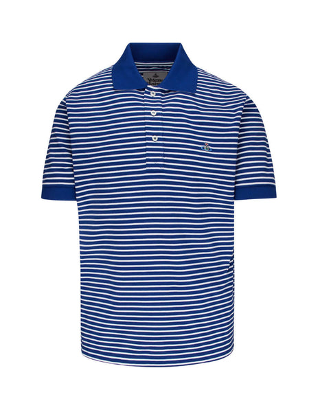 Vivienne Westwood Men's Giulio Fashion Blue Organic Stripe Polo Shirt S25GL0050S23619001F