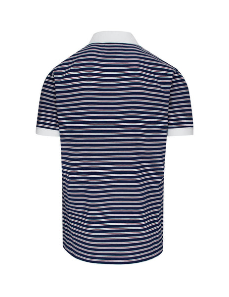 Vivienne Westwood Men's Giulio Fashion Blue With Red Stripes Organic Stripe Polo Shirt S25GL0050S23619002F