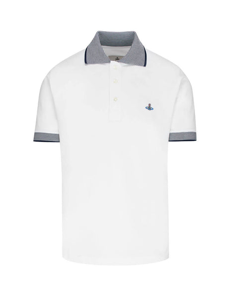 Vivienne Westwood Men's Giulio Fashion White Stripe Trim Polo Shirt S25GL0050S231420100