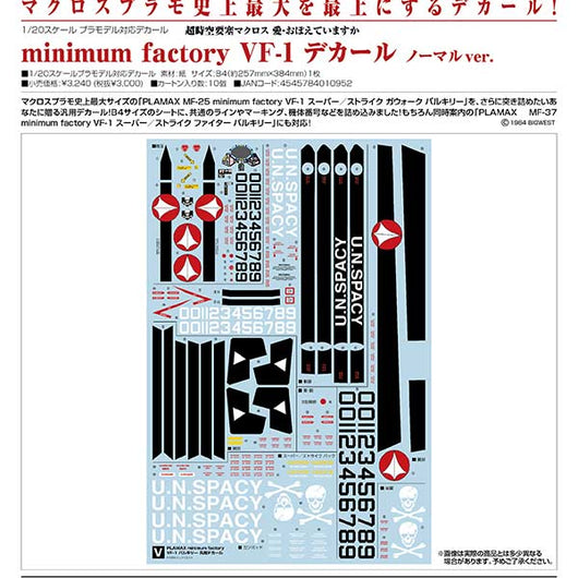 Macross: Do You Remember Love? minimum factory VF-1 Decals Normal Ver. (8)