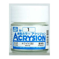 Mr Hobby Acrysion Color 001: Gloss White (10ml) Water Base
