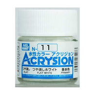 Mr Hobby Acrysion Color 011: Flat White (10ml) Water Base