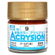 Mr Hobby Acrysion Color 009: Metallic Gold (10ml) Water Base