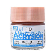 Mr Hobby Acrysion Color 010: Metallic Copper (10ml) Water Base