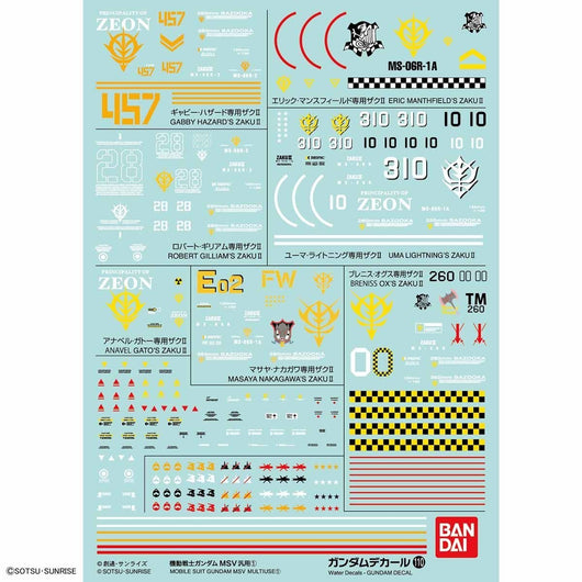 Gundam Decal No.110 Gundam MSV Multiuse